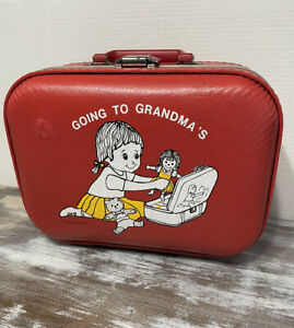 "Trojan Luggage Co.""GOING TO GRANDMA'S""HARD Case Children's Suitcase *RETRO*RARE*"