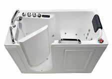 "27"" x 53"" Left Drain Air & Whirlpool Fully Loaded Walk In Bathtub ~ 2753 White"