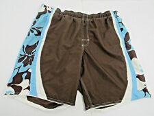 Speedo White Brown Blue Men's Boardshorts Swim Trunks Size 38 w/ Liner