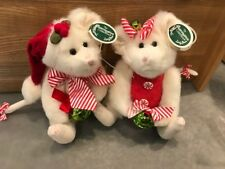 """Bearington Bear Collection Mr & Miss Mousetails 8"""" Mice 173243 173244 Christmas"""