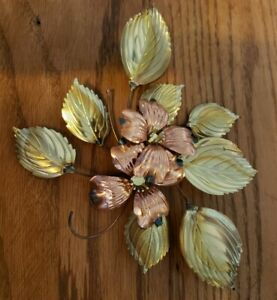 Vintage Wall Hanging Dogwood Flowers Brass Copper Metal Art Sculpture MCM