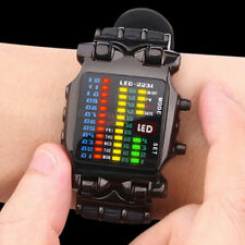 Fashion Men's Black Digital LED Binary Stainless Steel Quartz Sports Wrist Watch
