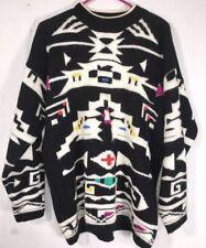 Midnight Blues Women's Sweater White Black Indian Design S-M VIntage. 90's