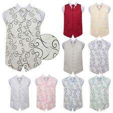 DQT Woven Scroll Patterned Mens Formal Waistcoat Cravat Hanky Cufflinks