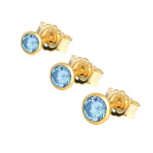 Einzel Ohrstecker Echt Blautopas Gelbgold 585 14 Karat Gold Kleine Ohrring