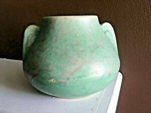 Antique Arts & Crafts Burley Winter Art Pottery 2 Ear Handle Vase Blueish Green