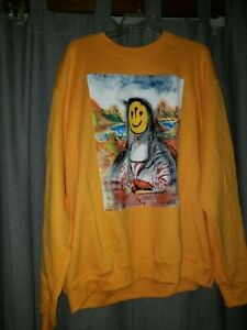 GXFR Pray For Paris Issac Pelayo Crewneck Sweatshirt Men's XL In Yellow