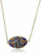 Gold Over Sterling Silver Chain with Cloisonne Egg Shape Bead Necklace, 18""