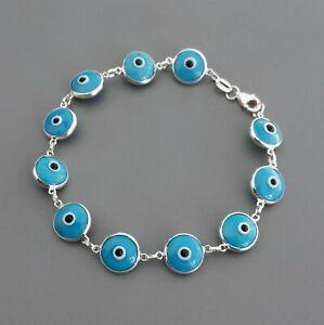Blue Evil Eye Bracelet in 925 Sterling Silver - 7 inches