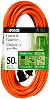 Extension Power Cord Heavy Duty Outdoor Cable Electrical Wire 50 Feet Orange New