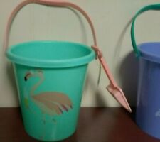 "Sun Squad Plastic Sand Pail Bucket & Shovel 9"" Beach or Back Yard Choose Color"