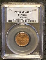 PCGS MS64RB 1943 Portugal 20 Centavos Bronze KM-584