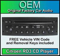 Citroen C2 Stereo CD-Player Citroen RD3 Radio + gratis Vin Code und Schlüssel