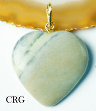 "Serpentine Heart Pendant w/ Gold Plated Bail 1""-2"" (HRT50DG-G)"