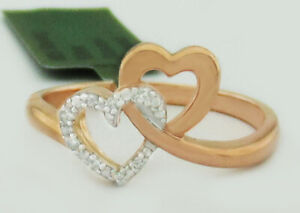GENUINE DIAMONDS DOUBLE HEART RING 925 SILVER (Rose Finish) * NWT * Size #7