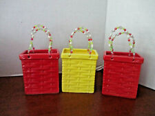 Lot of 3 Ceramic / Porcelain BASKET WEAVE BASKETS / PARTY FAVORS~Red & Yellow