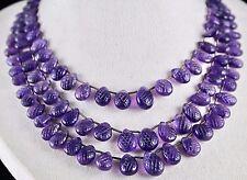 3 Line Amethyst Carved Pear Briolette Gemstone Beads Necklace