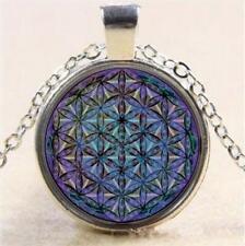 Metatron Art Photo Cube Cabochon Glass Tibet Pendant Silver Chain Necklace AU-3