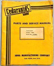 CEDARAPIDS Model 2236 Roller Crusher Conveyor Parts and Instruction Manual