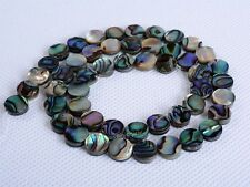"""0674 8mm Abalone shell flat coin disc loose beads 16"""""""