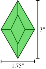 1.75x3 Diamond Stained Glass Bevels - Box of 30 - Green 1-3/4x3