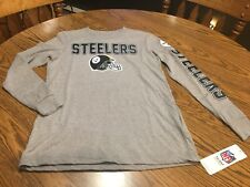 Pittsburgh Steelers NFL Boys' Gray Long-Sleeve T-Shirt, Size Small (8) Stain,NWT