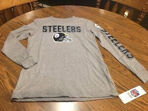 Pittsburgh Steelers NFL Boys' Gray Long-Sleeve T-Shirt,Size Medium (10/12) NWT