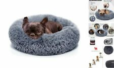 Small Dog Bed Calming Dogs Bed for Small Medium Small (Pack of 1) Dark grey