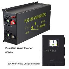 Mppt Charge Controller 60A Solar 24V to 110V 220V Pure Sine Wave Inverter 6000W