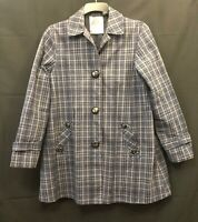 MNG Mango ~ Womens ~ Tartan Trench Coat ~ Size 16 XL 100% Cotton ~ Lined Checked