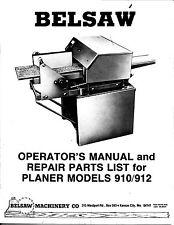 Belsaw Planer Models 910 912 Operators and Parts Manual * CDROM * PDF