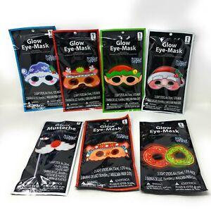 Christmas XMAS Glow Light Eye-Masks - Reindeer, Elf, Santa, Snowman - Lot of 7