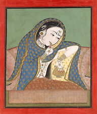 India Miniature Painting Reproduction: Melancholy Courtesan - Fine Art Print