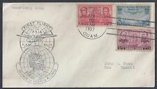 US 1937 FIRST FLIGHT TO ASIA GUAM TO HAWAII VIA HONK KONG TRANSIT MARK ON REVERS