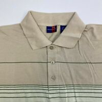Rocky Polo Shirt Mens 2XL XXL Short Sleeve Green Tan Striped Cotton Blend Casual