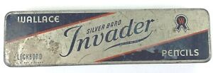 Vintage Wallace Silver Band Invader Pencil Tin  St. Louis MO Antique Collector