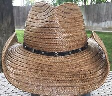 a7525b5eb29 Scala Ranch women s Western Straw Hat Small Brown 55CM Unisex Cowboy Rodeo