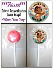 24 Baby Moana Birthday Party Or Shower Lollipop Stickers Favors Princess Ocean