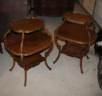 Antique Oak Parlor Table Tables – 3 shelves – Matching Pair - Unique Design