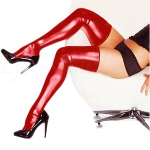 Sexy Women Cosplay Spandex Long Latex Rubber Stocking Thigh High Tights Hosiery