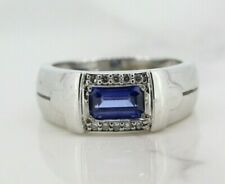 18ct White Gold Tanzanite and Diamond Cluster Ring (Size L)