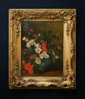 Still life of Poppies | 19th Century Flower Oil Painting in Antique Gilt Frame