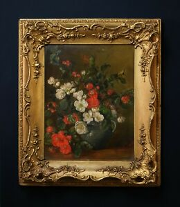 Still life of Poppies   19th Century Flower Oil Painting in Antique Gilt Frame
