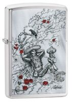 Zippo Rietveld Day of the Dead Brushed Chrome Windproof Pocket Lighter, 49144