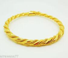 TWIST 22K 23K 24K THAI BAHT YELLOW GOLD GP JEWELRY BANGLE Bracelets