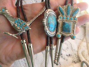 VINTAGE SOUTHWESTERN ROAD RUNNER HEADRESS FAUX TURQUOISE BOLO TIE LOT of 3