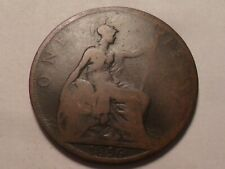 1896 NICE VICTORIA GREAT BRITAIN BRONZE ONE PENNY MINTAGE 24,147,000!!!