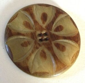 Large carved Horn Flower Antique Button Old
