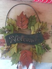 Fall Flowers Thanksgiving Welcome Metal Door Wall Hanging