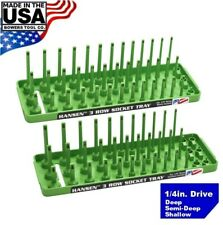 "Hansen 1/4"" Socket Tray Organizer Holder Set 3 Row Metric SAE Shallow Deep Green"
